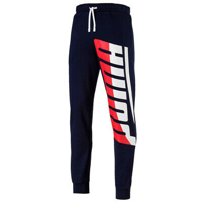 Puma Mens Loud Track Pants Logo Casual Running Joggers Navy 577360 06