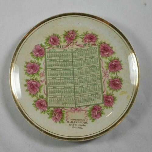 Vtg Calendar Plate S Alexander Chicago ILL IL 1911 1912 1044 w 18th St 2 year