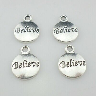 30/90pcs Tibetan Silver Round Believe Small Charms Pendants Jewelry Findings](Small Charms)