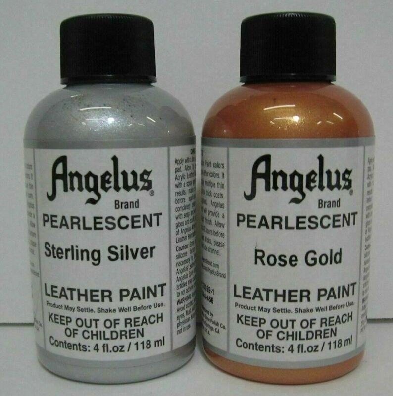 Angelus Pearlescent Leather Acrylic Paint, 4 Ounce Silver or  Rose Gold