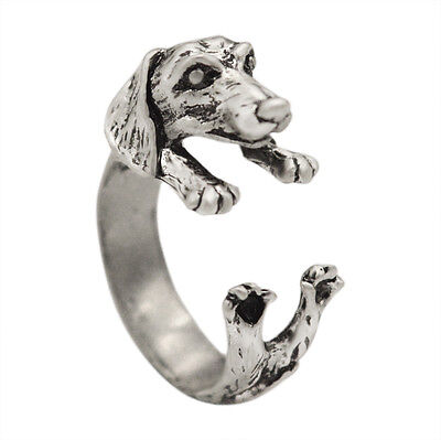 Open Adjustable Dog Ring Punk Dachshund Dog Puppy Animal Rings Women Men Jewelry