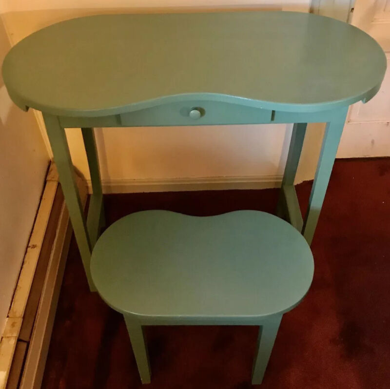 Vintage Kidney Shaped Desk Dressing Table Vanity with Matching Stool & Old Label