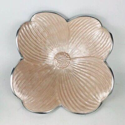 "Julia Knight Limited Edition Shrimp Color Hibiscus Flower Serving Piece Bowl 14"""