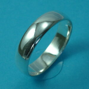 Solid-925-Sterling-Silver-5mm-Wedding-Ring-Band-D-Shape-Jewellery-Various-Sizes