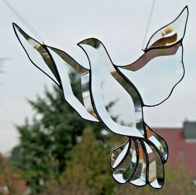 Stained Glass Leaded Glass Facets - Pigeon Suncatcher Window Image IN Tiffany