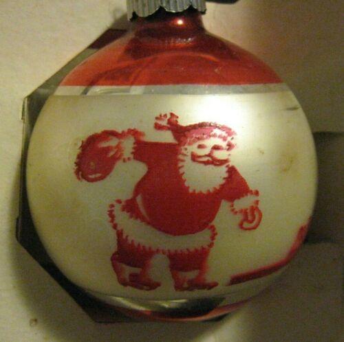 RARE VINTAGE CHRISTMAS ORNAMENT SHINY BRITE STENCILED SANTA BOWLING RED