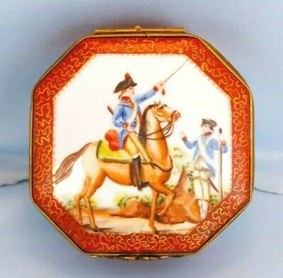 Vintage Limoges Porcelain Lidded Box French Napoleon Military Battle Scene