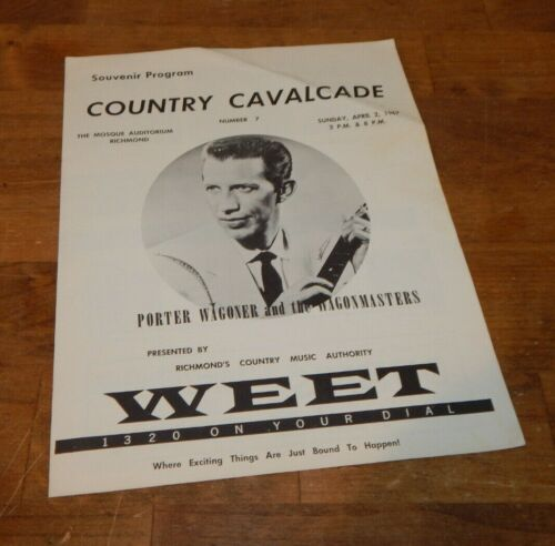 1967 Porter Wagoner Country Cavalcade Souvenir Program The Mosque Richmond,Va.