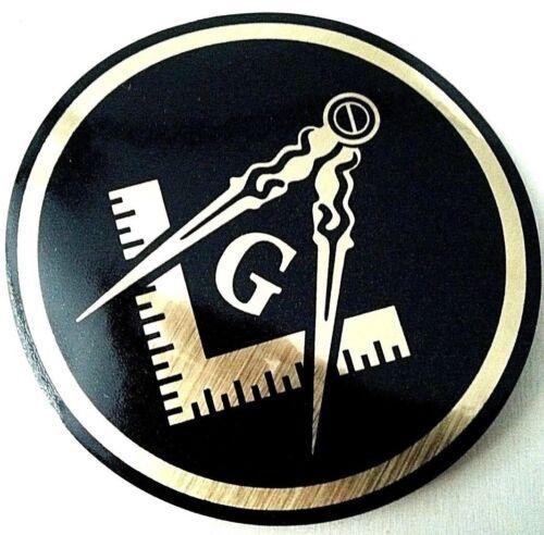 "Masonic Decal Black 3.5"" Logo FreeMason Car Gold Gift laptop Freemasonry Sticker"