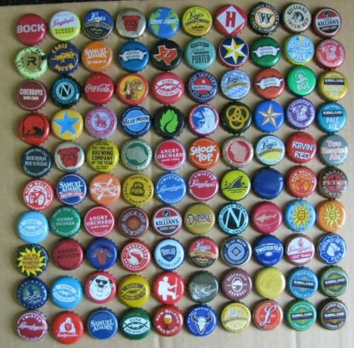 100 MIXED DIFFERENT MOSTLY USA MICRO CRAFT COLORFUL BEER BOTTLE CAPS