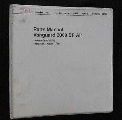 Fmc Vanguard 3000 Sp Air Series Street Sweeper Broom Parts Catalog Manual Binder