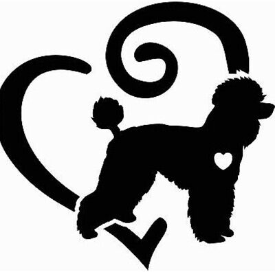BLACK Poodle Love Heart Vinyl Decal Sticker Pure-breed Dog Breed ()