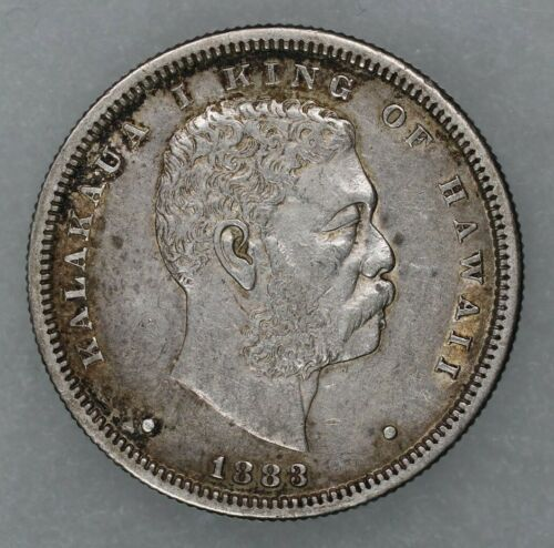 1883 HAWAII HAWAIIAN HALF DOLLAR 50C SILVER CHOICE XF EXTRA FINE (9542)
