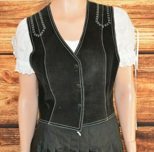 Black suede Bavarian dirndl Oktoberfest vest German Trachten vest Size M