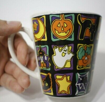 Halloween Themed Coffee Mugs (Halloween Coffee mug colorful Halloween Themed Mug Bats Ghosts Witches)