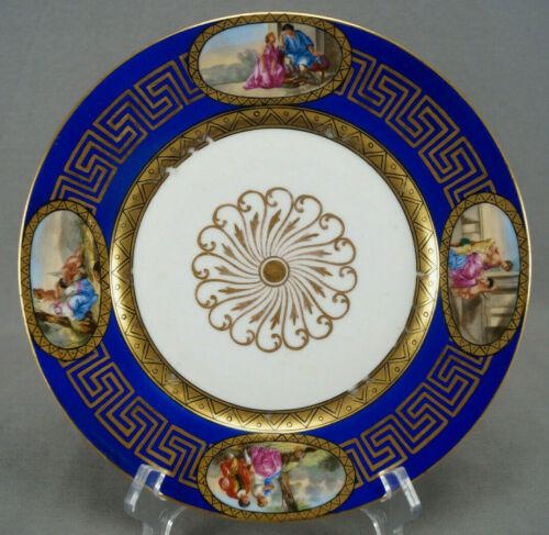 French Capodimonte Pour La Comtesse Waldstein Cobalt Neoclassical Scene Plate A