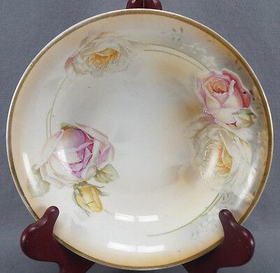 ES Prov Saxe Erdmann Schlegelmilch Pink White & Yellow Rose Bowl C. 1900 - 1920