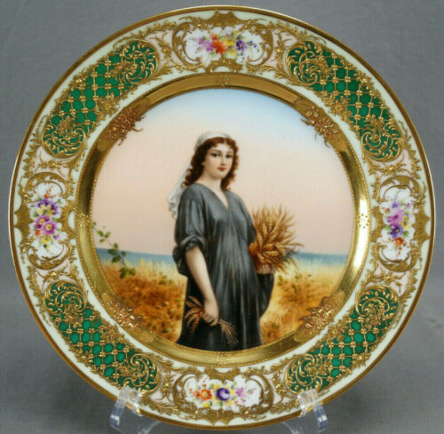 Royal Vienna Style Hand Painted Ruth Flowers Raised Gold Green & Pink Plate