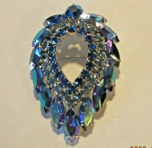 VINTAGE SARAH COVENTRY BLUE LAGOON RHINESTONE PIN BROOCH