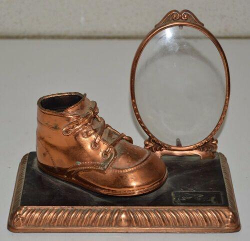 Vintage Baby Shoe Nursery Decor Brass Tone Metal Photo Frame & Stand Rare