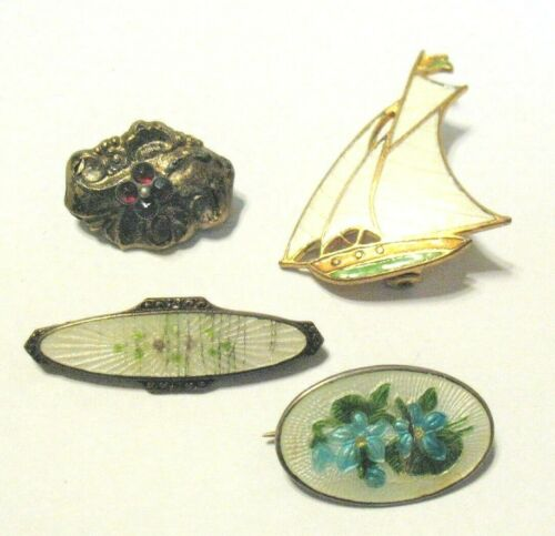 MOSTLY VICTORIAN PIN LOT OF 4 COSTUME JEWERLY GOLD TONED ENAMEL WEARABLE