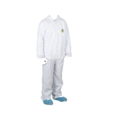 White Disposable Microporous Paint Coverall Suit Large 4 Gloves 4 Shoe Cover