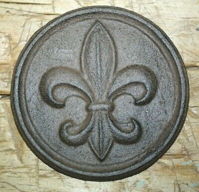 Home Fleur De Lis - Cast Iron FLEUR DE LIS Plaque Finial Garden Sign Home Wall Decor Rustic Brown
