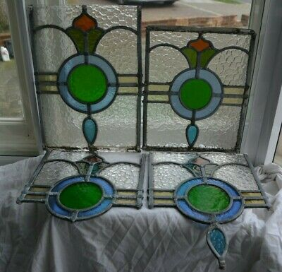 4 leaded light stained glass window parts / / fragments / suncatchers. S1036a
