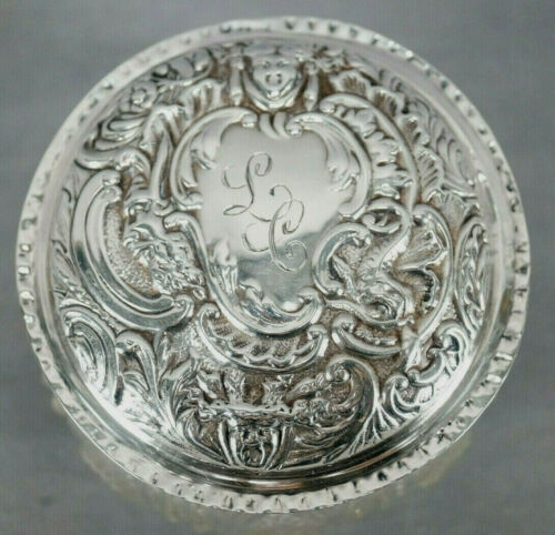 William Comyns Silver Neoclassical Repousse LC Monogram Lid Cut Crystal Box 1912