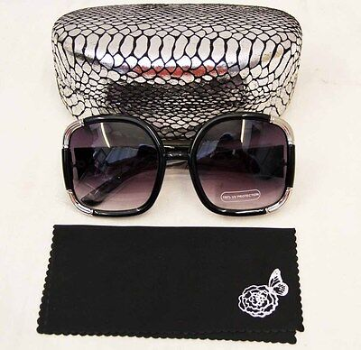 Joan Boyce Black / Silver oversized womens sunglasses with hard case (Womens Sunglasses Case)