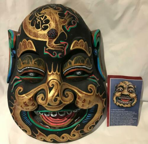 CHINESE OPERA FOLK ART WOOD HAND CARVED in DI STYLE PAINTED ORNATE MASK