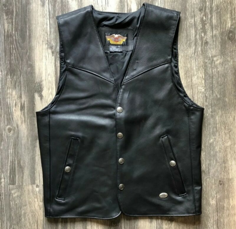 Authentic Harley Davidson Black Genuine Leather Vest Motorcycle Gear Size Small