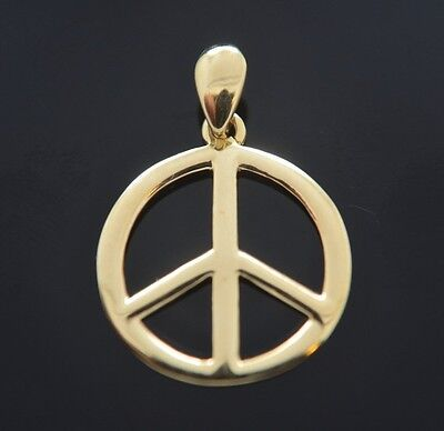 New Peace Sign Charm Real 14k Yellow Gold Pendant & Chain Love Medalla Paz Oro Yellow Gold Peace Sign