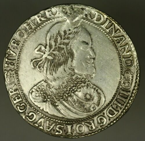 Hungary Silver Thaler 1657-KB  VF+  hairlines  mount removed  A1436