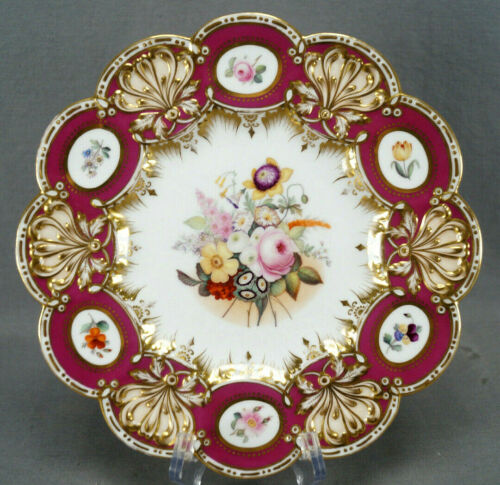 Coalport Hand Painted Floral Maroon & Gold Rococo Molded 9 1/8 Inch Plate