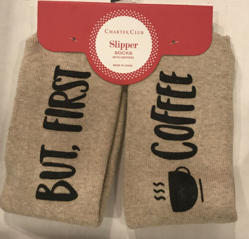 slipper socks with grippers but first coffee