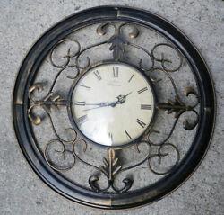 Round Wall Clock Metal Vintage 15.5 Acanthus Oak Leaf WESTMINSTER Scrolling