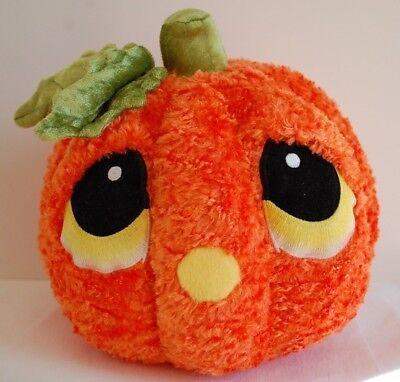 Bestever LUV'EMS Plush Pumpkin Halloween Velvet Leaf & Stem Teardrop Eyes Orange
