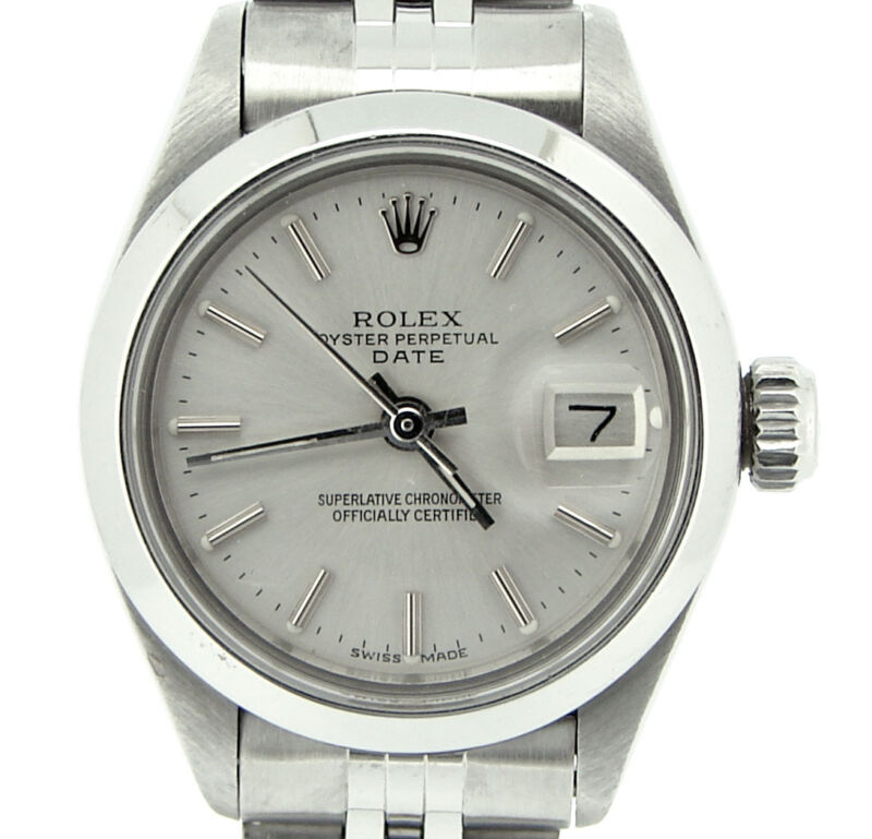 Rolex Date Ladies Stainless Steel Watch Jubilee Domed Bezel Silver Dial 6916
