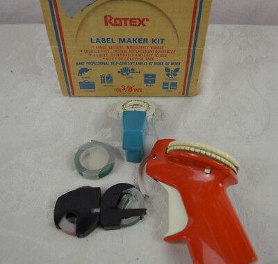 Vintage Rotex Label Maker 38 Tape Mini Label Mate 4 Rolls Tape Original Box