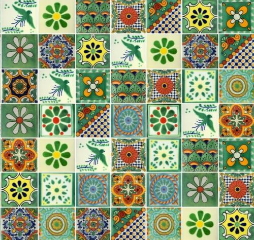 50 4x4  Mexican Ceramic Tiles Green Assorted Designs
