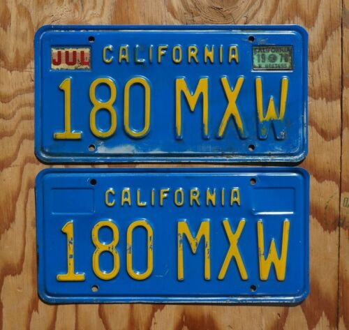 1978 California License Plate PAIR / SET