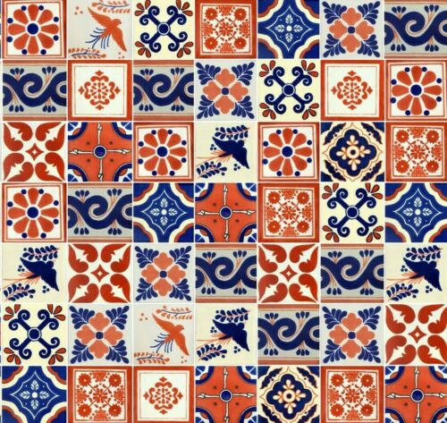 50 4x4 Mexican Ceramic Tiles Terracotta & Blue Assorted Designs
