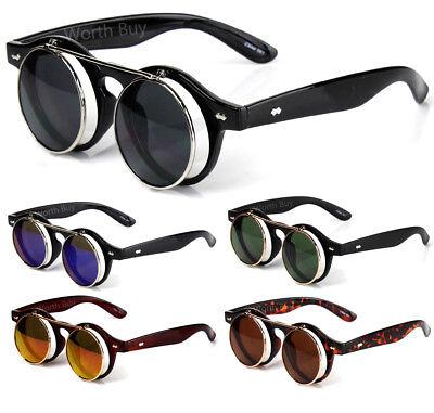 Flip Up Lens Steampunk Round Sunglasses Shades Retro Frame Clear Mens Women (Clear Shades)