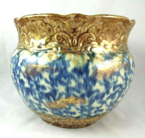 Antique Spatterware Blue & Gold Jardiniere Ceramic Flower Pot Planter Decor