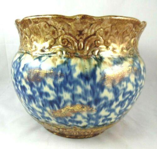 Antique~Spatterware~Blue & Gold~Jardiniere~Ceramic~Flower Pot~Planter~Decor