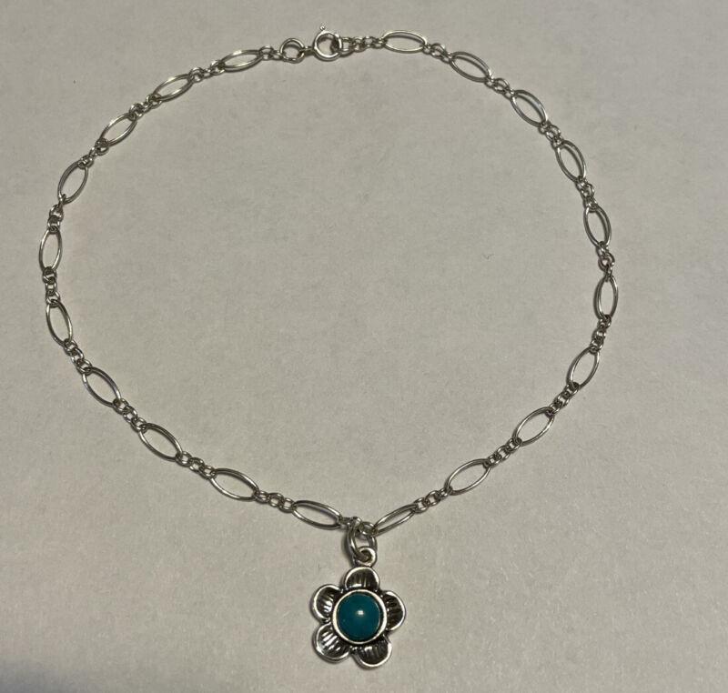 """Sterling Silver Turquoise Dangle Flower Bracelet Anklet 10"""""""