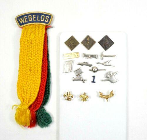 Vtg BSA Boy Scouts of America Webelos Tri-Color Ribbon Activity Pins Awards etc