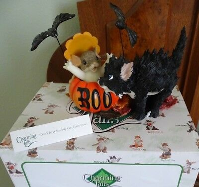 "Charming Tails Halloween Black Cat ""Don't Be a Scaredy Cat Have Fun"" MIB"