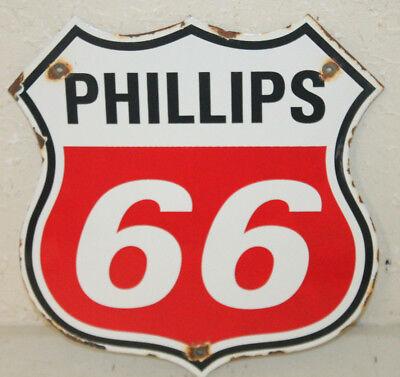 Phillips 66 Red Oil Porcelain Enamel Sign Gas Pump Station Vintage Style Plate